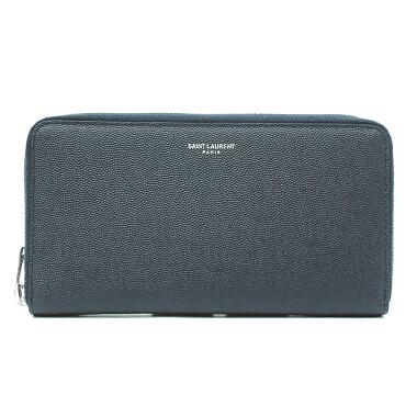 [GOODA] [New stock] [pre-owned] Yves Saint Laurent round zipper full zip wallet Bi-fold wallet Silver hardware Classic Saint Laurent 344076BTY0N [long wallet]