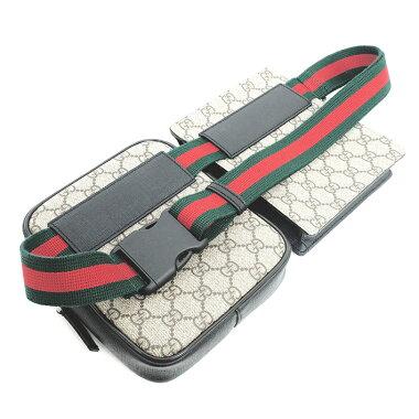 [Used] Gucci GG pattern sherry line belt bag waist bag hip bag GG Supreme x web 450956493075 [body bag / waist pouch] [GOODA listing] [as good as new]