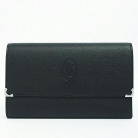 カルティエ 長財布 シルバー金具 マストドゥ カラー ブラック ブランド Cartier ギフト プレゼント 中古 送料無料