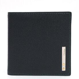 【新品同様】カルティエ ロゴ コンパクト財布 サントス ドゥ L3000772 メンズ【二つ折り財布】