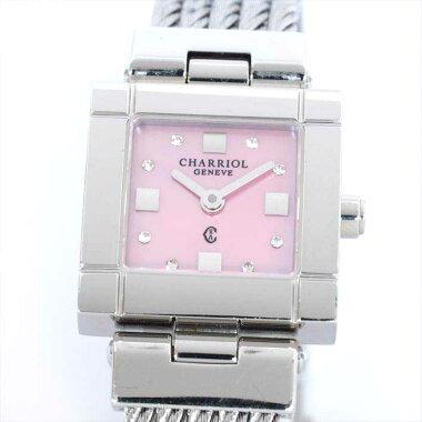 CHARRIOLシャリオールサントロペピンクシェル/8PダイヤCELS.71.17336544282【中古】腕時計