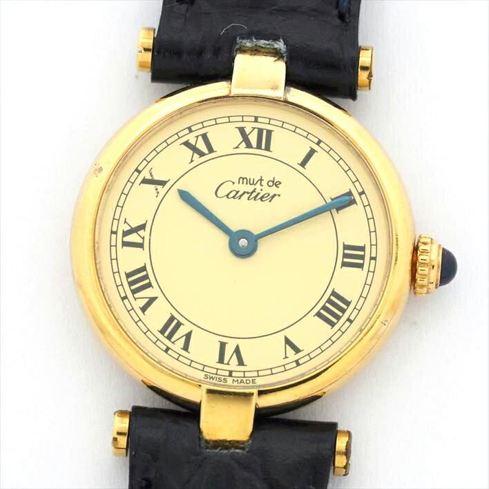 カルティエ マスト ヴァンドーム(VLC) ヴェルメイユ レディース Cartier must VENDOME VERMEIL【中古】【腕時計】 ギフト プレゼント