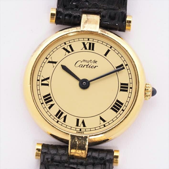 【オーバーホール済み】Cartier カルティエ マスト ヴァンドーム(VLC) ヴェルメイユ【中古】レディース 腕時計