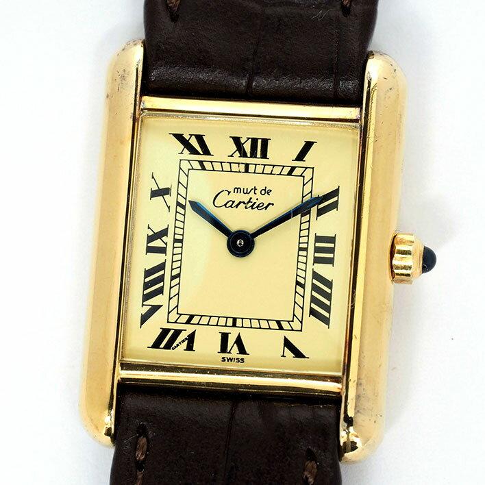 カルティエ マスト タンク ヴェルメイユ レディース Cartier must TANK VERMEIL【中古】【腕時計】
