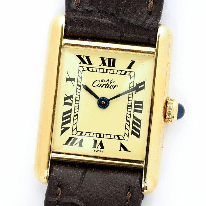カルティエ マスト タンク ヴェルメイユ Ref. W1003153*箱に記載 レディース Cartier must TANK VERMEIL【中古】【腕時計】