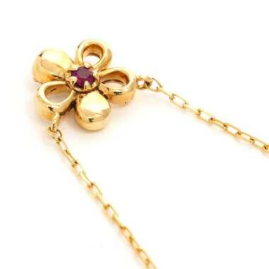 Yeondish Pavé Diamond & Ruby Style Flower Motif Reversible Pendant Necklace 10K Yellow Gold [Used] [Pendant]