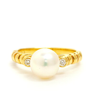 [Used] Christian Dior Meredia 1P Pearl Ring 18K Yellow Gold No. 9 [Ring]