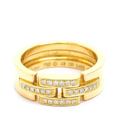 【中古】【新品仕上げ済み】カルティエパヴェダイヤモンドマイヨンパンテールリング18金イエローゴールド48【指輪】