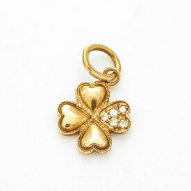 [Used] Agat Pave Diamond Four Leaf Clover 10K Pink Gold [Pendant Top] [GOODA]