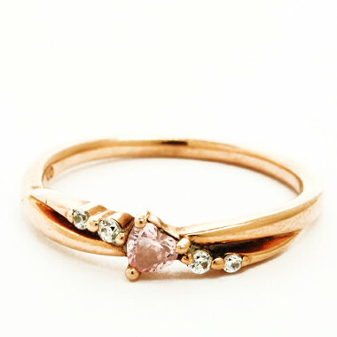 [Used] Yonde Sea Heart Shape Pink Tourmaline Style Gem Gem Ring 10K Pink Gold No. 8 [Ring]