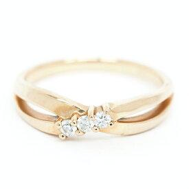 【中古】ヨンドシー 3P ダイヤモンド クロスデザインリング 18金イエローゴールド 8号【指輪】【GOODA掲載】