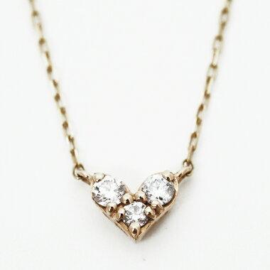 【中古】サマンサティアラ3Pダイヤモンドハートモチーフ10金イエローゴールド【ペンダント】