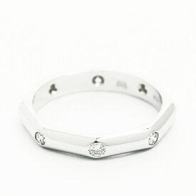 【GOODA掲載】【新入荷商品】【中古】【新品仕上げ済み】ブルガリ オクタゴナル 8P ダイヤモンドリング 18金ホワイトゴールド 6号【指輪】