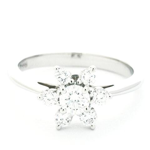 ティファニー 指輪 リング フラワーモチーフ ダイヤモンドリング プラチナ950 8号 ブランド TIFFANY&Co. 送料無料 中古 ギフト プレゼント 新品仕上げ済み