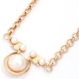 【新品仕上げ済み】セリーヌ ブラゾン 本真珠 デザイン 18金イエローゴールド【ネックレス】【中古】 ご褒美 秋