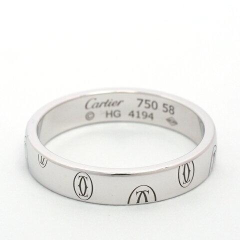 【新品仕上げ済み】カルティエ ハッピーバースデー ロゴリング 18金ホワイトゴールド 58【指輪】