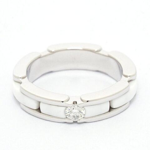 【新品仕上げ済み】シャネル ウルトラコレクションリング 1Pダイヤモンド 18金ホワイトゴールド/セラミック 6号【指輪】