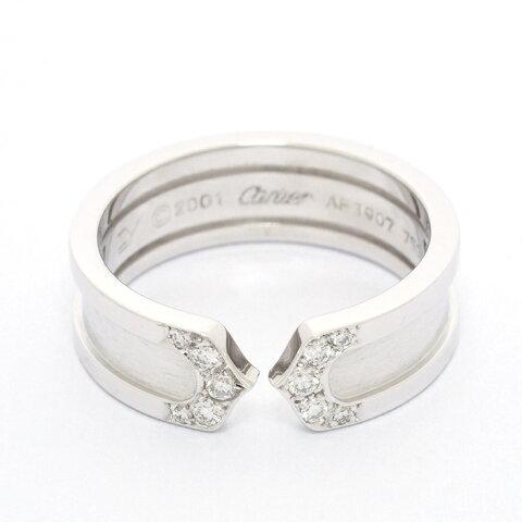 【新品仕上げ済み】カルティエ 2C C2 ロゴ パヴェダイヤモンドリング 18金ホワイトゴールド 54【指輪】
