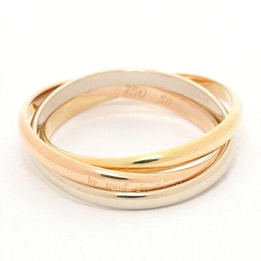 【新品仕上げ済み】カルティエトリニティリング18金ホワイトゴールド/18金イエローゴールド/18金ピンクゴールド50【指輪】