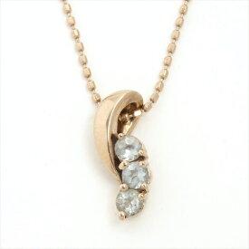 【中古】ヨンドシー 3Pクリアストーン デザインネックレス K18【ネックレス】 ギフト プレゼント【GOODA掲載】