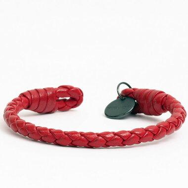 BOTTEGAVENETA Bottega Veneta Logo Plate Intrecciato Leather Bangle Bracelet Red Color Plated [Used] Bangle