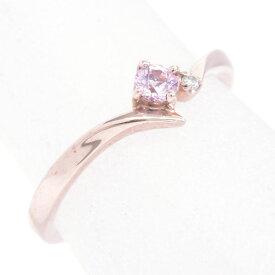 【中古】ヨンドシー 1Pダイヤモンド 1Pシンセティックサファイア K10ピンクゴールド 8号【リング】ギフト プレゼント【GOODA掲載】