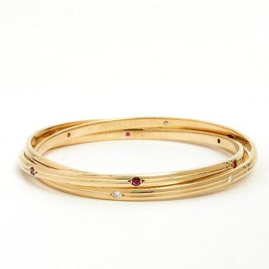 [New Finished] Cartier Trinity Diamond Sapphire Ruby Triple Bangle Bracelet K18YG [Used] [Bangle]