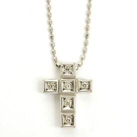 【中古】ヨンドシー 6Pダイヤモンド クロス ペンダント ネックレス K18ホワイトゴールド【ペンダント】 ギフト プレゼント【GOODA掲載】