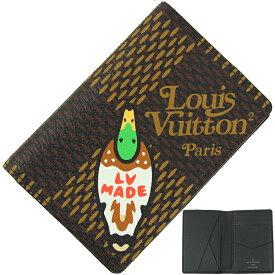 ルイヴィトン カードケース 二つ折り オーガナイザー ドゥポッシュ ダミエ ジャイアント ダックプリント NIGO コラボ LOUIS VUITTON ルイ・ヴィトン ビトン メンズ レディース 本革 薄い スリム パスケース 定期入れ カードホルダー ブランド プレゼント 新品 送料無料