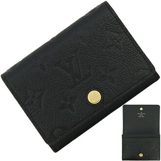 LOUIS VUITTON Envelope Cartes De Visite Monogram empreinte Black Leather Card case [New]