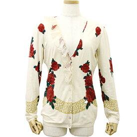 【P5倍】 Blugirl ブルーガール カーディガン #42 M / Lサイズ レーヨン ホワイト 白 レッド 赤 花柄 薔薇 トップス 羽織り フリル 女性用 レディース