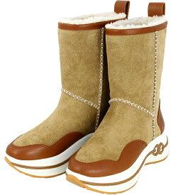 TORY BURCH トリーバーチ ファーブーツ 23.5cm 6.5サイズ ジェミニリンク スエード レザー シアリング ボア ダークティラミス ベージュ ブラウン ムートンブーツ プラットフォーム フラット ぺたんこ ジュアル レディース ブランド 靴 シューズ 新品 送料無料
