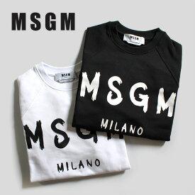 MSGM (エムエスジーエム) 2941MDM89 20779901 OPTICAL WHITE ホワイト 99 BLACK ブラック スウェット プルオーバー ロゴ