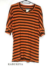 Yohji Yamamoto ヨウジヤマモト ボーダーシャツ オレンジ/ブラウン サイズ3 Tシャツ 半袖 男性用 メンズ 人気ブランド【中古】19-36182my