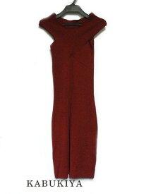 DURAS デュラス 2way ノースリーブ リブニット タイト ワンピース 【F】 ボルドー 赤 オフショル ニットワンピ レディース 衣類 人気ブランド【中古】18-4206Mo