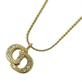 【在庫セール!大幅値下げ中】◆クリスチャン ディオール Christian Dior ネックレス ゴールド ロゴ ラインストーン レディース 【中古】