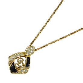 【在庫セール!大幅値下げ中】◆クリスチャン ディオール Christian Dior ネックレス ペンダント ゴールド ブラック レディース 【中古】