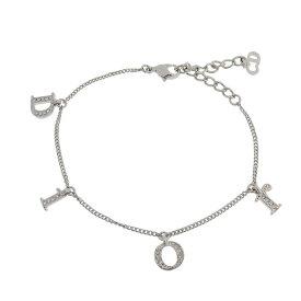 ◆ 良品 クリスチャン ディオール Christian Dior ロゴ ブレスレット ラインストーン シルバー 銀 【中古】
