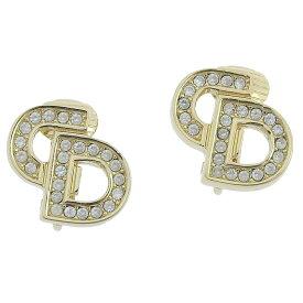◆ 良品 クリスチャン・ディオール Christian Dior ロゴ イヤリング ラインストーン 透明石 ゴールド 金 【中古】