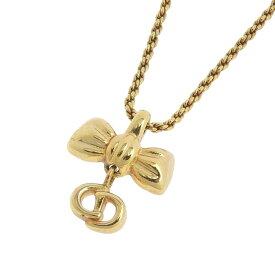 【在庫セール!大幅値下げ中】◆ クリスチャン・ディオール Christian Dior ネックレス ゴールド リボン 【中古】