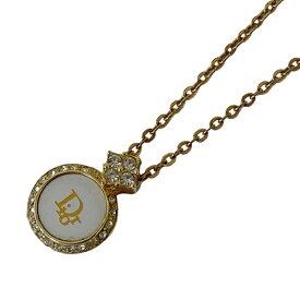 【在庫セール!大幅値下げ中】◆クリスチャン ディオール Christian Dior ネックレス ゴールド ホワイト 石付 レディース 【中古】
