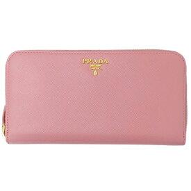 ◆プラダ PRADA サフィアーノ 長財布 ラウンドファスナー レディース PETALO ピンク×G金具 1ML506 【中古】