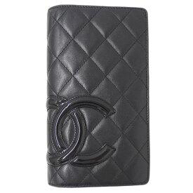 ◆シャネル CHANEL ココマーク カンボン 二つ折り 長財布 レディース レザー ブラック A26717 1301**** 【中古】
