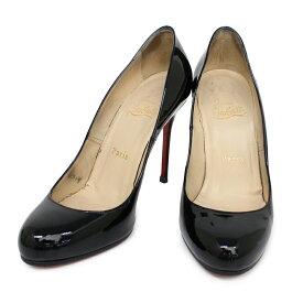 【中古】クリスチャン・ルブタン パテント エナメル ラウンドトゥ パンプス 36 靴 シューズ 黒 ブラック 箱付