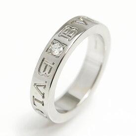 【中古】ブルガリ・ブルガリ ダブルロゴ 1Pダイヤモンド K18WG ホワイトゴールド リング 指輪 AN853348 #9号