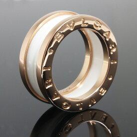 【美品】ブルガリ B zero 1 ビー ゼロワン 3バンド リング 指輪 750 K18 ローズゴールド×ホワイトセラミック #47 7号 AN855964