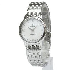 【未使用 展示品】オメガ デ・ヴィル プレステージ クオーツ レディース 腕時計 シェル文字盤 424.10.27.60.05.001 箱付 ギャラティカードあり
