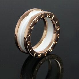 【美品】ブルガリ B zero 1 ビー ゼロワン 3バンド リング 指輪 750 K18PG ローズゴールド×ホワイトセラミック #50 10号 AN855964