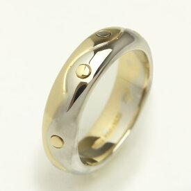【美品】ブルガリ オンダ リング 指輪 コンビ ゴールド 750 K18 (YG×WG) #9号