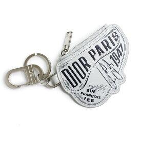 【中古】ディオール Dior レザー サドル プリント キーホルダー リング チャーム グレー レディース メンズ